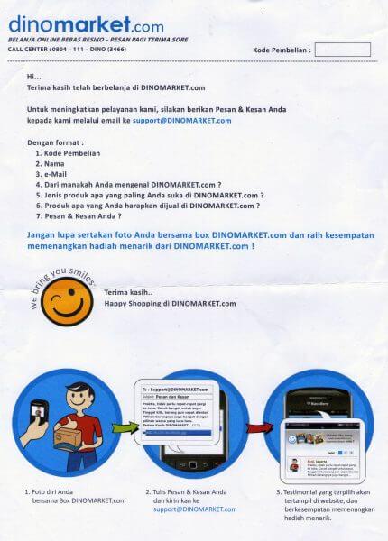 Lembar pengisian survei dan marketing gimmicks Dinomarket