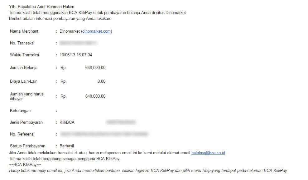 Email pembayaran BCA Klikpay - Databank backpack hardcase dan external harddisk hardcase dari Dinomarket.com