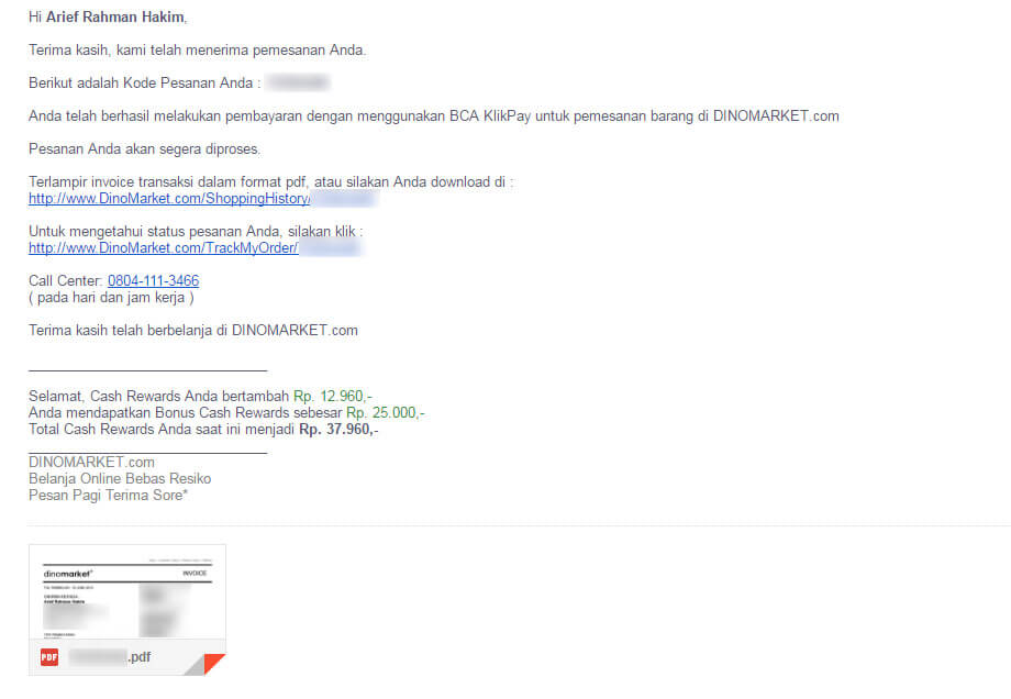 Email notifikasi pembelian - Databank backpack hardcase dan external harddisk hardcase dari Dinomarket.com