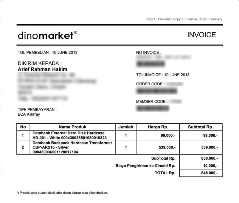 Invoice pembelian - Databank backpack hardcase dan external harddisk hardcase dari Dinomarket.com