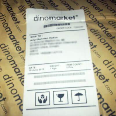 Paket kiriman JNE dari Dinomarket - stiker tujuan pengiriman dan pemesanan