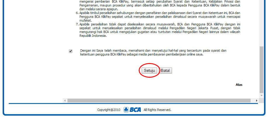 Halaman Syarat dan Ketentuan BCA KlikPay - klik Setuju