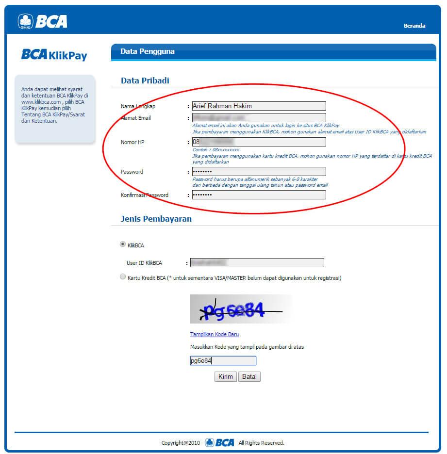 """Halaman """"Data Pengguna"""" BCA KlikPay - isi Data Pribadi"""