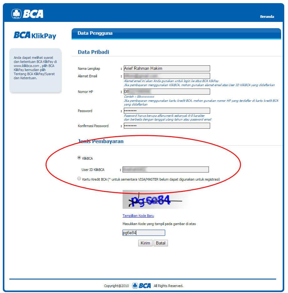 "Halaman ""Data Pengguna"" BCA KlikPay - pilih Jenis Pembayaran"