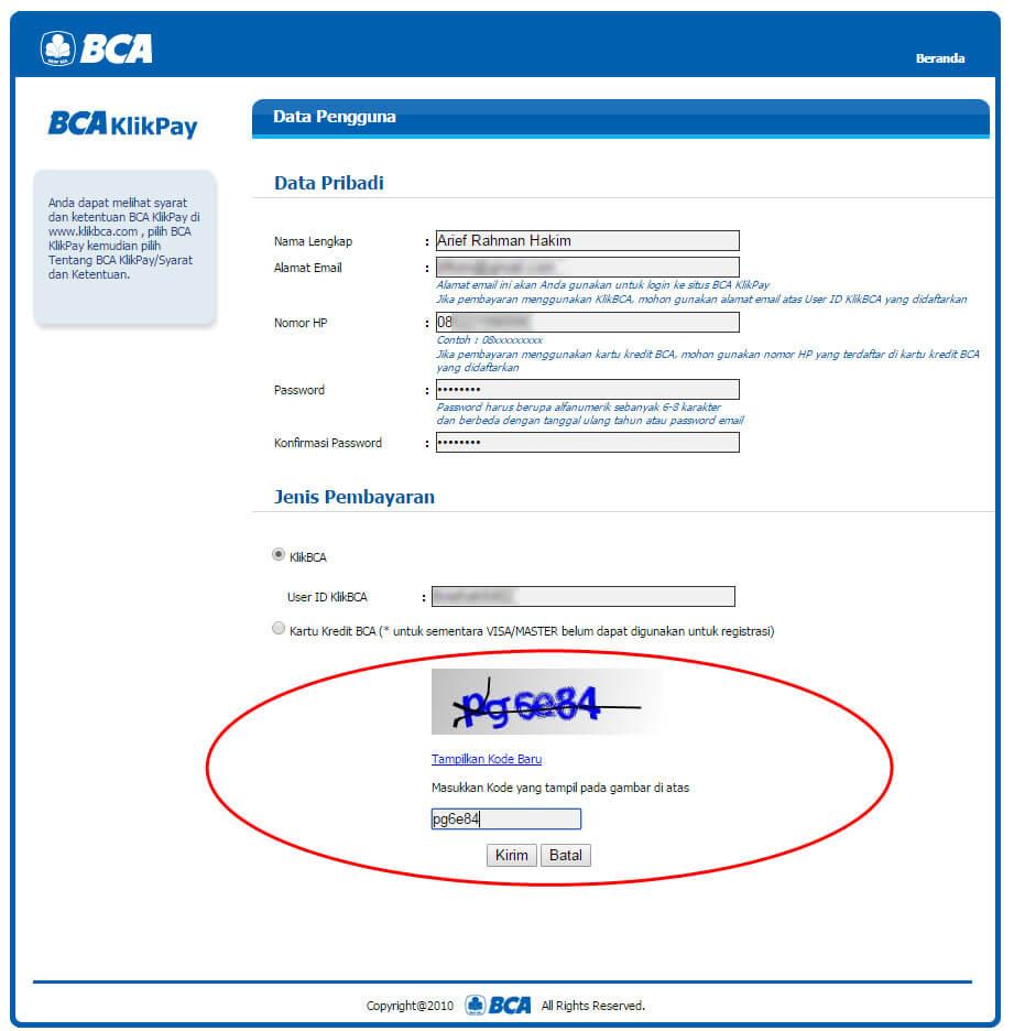 "Halaman ""Data Pengguna"" BCA KlikPay - masukkan kode acak"