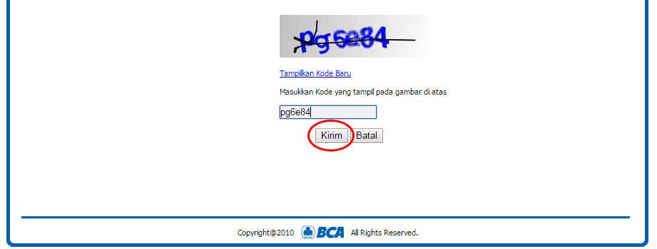 "Halaman ""Data Pengguna"" BCA KlikPay - klik Kirim"