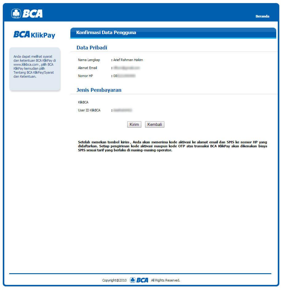 """Halaman """"Konfirmasi Data Pengguna"""" BCA KlikPay"""