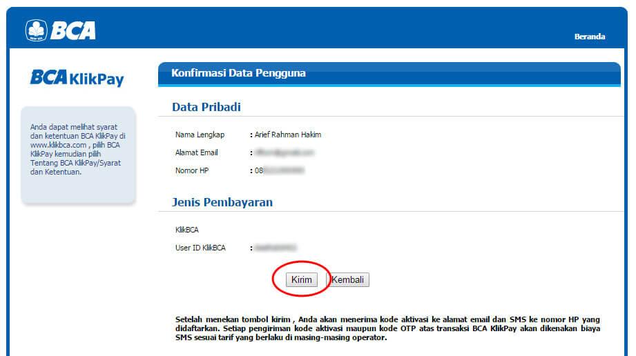 """Halaman """"Konfirmasi Data Pengguna"""" BCA KlikPay - klik Kirim"""