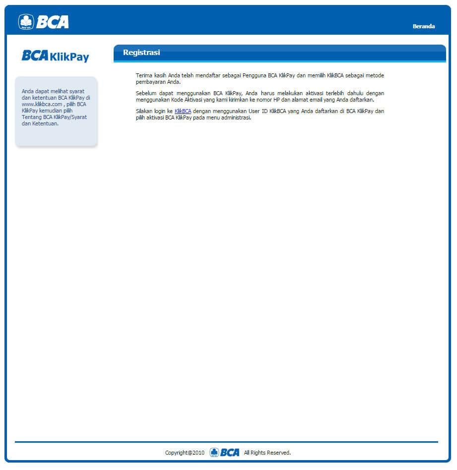 Halaman BCA KlikPay - Registrasi berhasil