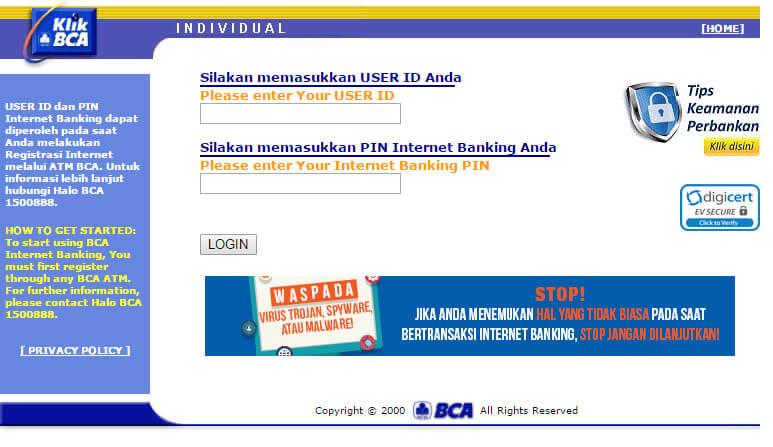 Website resmi KlikBCA - layanan internet banking bank BCA