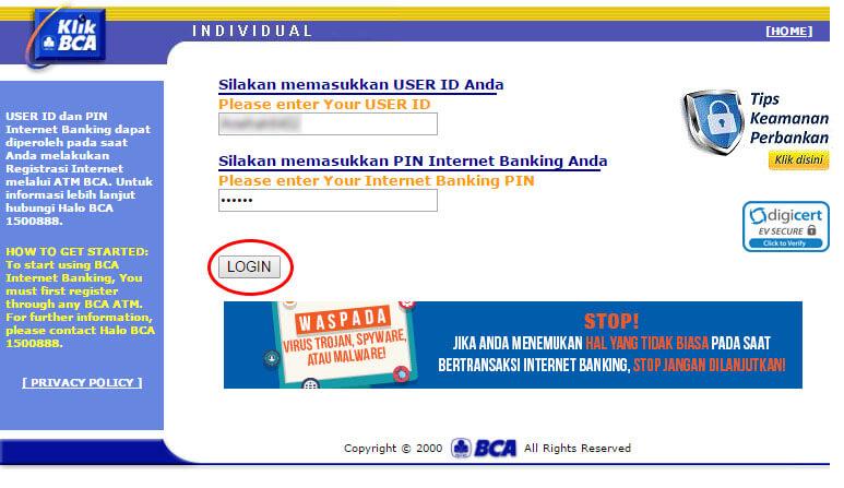 KlikBCA Individual login.