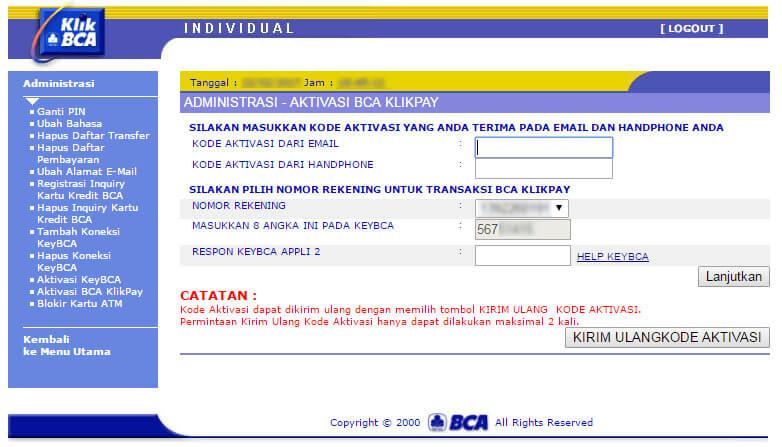 KlikBCA - halaman aktivasi BCA KlikPay