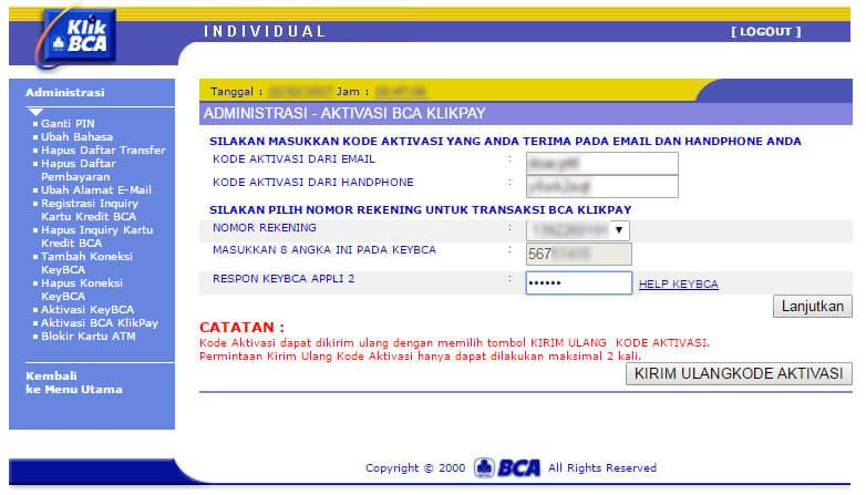 KlikBCA - isi data aktivasi BCA KlikPay