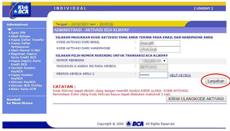 KlikBCA - halaman aktivasi BCA KlikPay klik lanjutkan