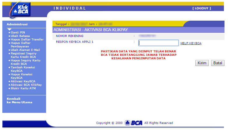 KlikBCA - aktivasi BCA KlikPay halaman respons appli 1