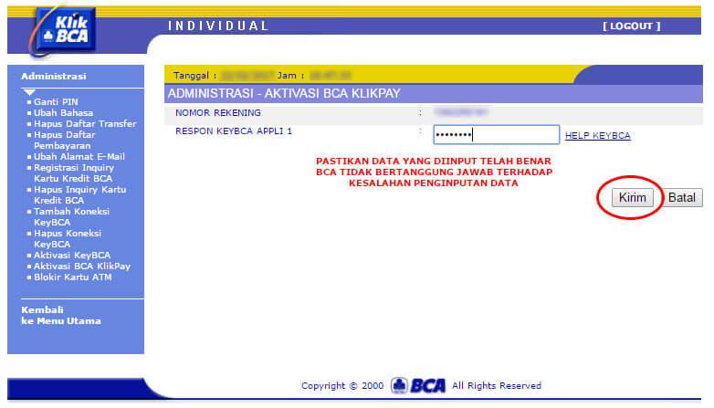 KlikBCA - aktivasi BCA KlikPay isi respons appli-1 dan klik kirim