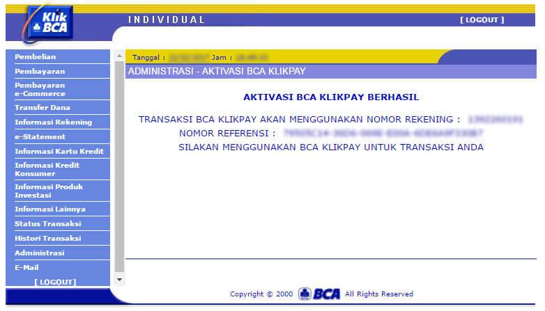 KlikBCA - aktivasi BCA KlikPay berhasil