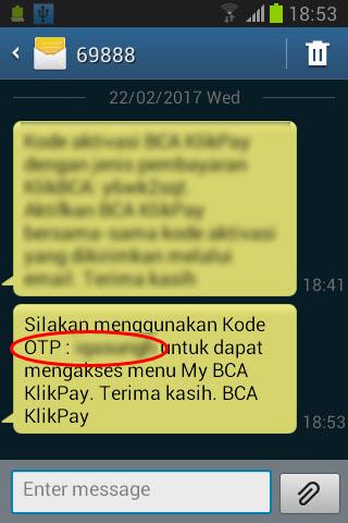 BCA KlikPay - SMS berisi kode OTP