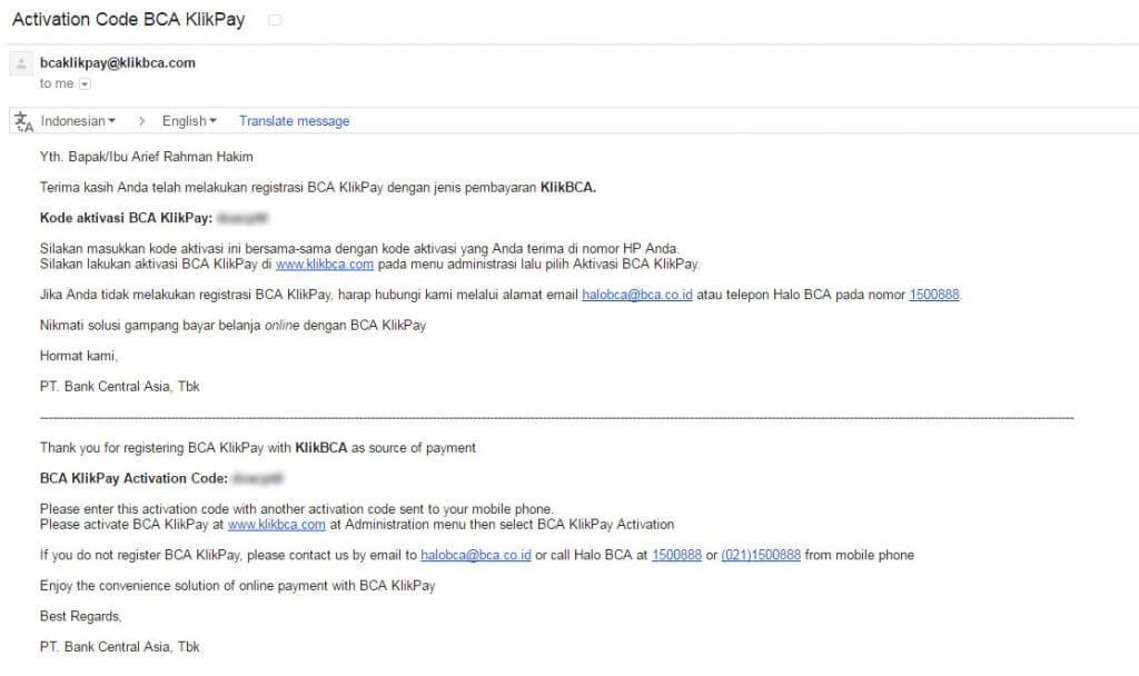 Kode aktivasi BCA KlikPay ke alamat email