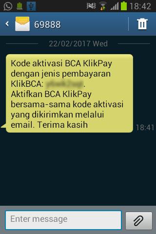 Kode aktivasi BCA KlikPay ke nomor HP lewat SMS