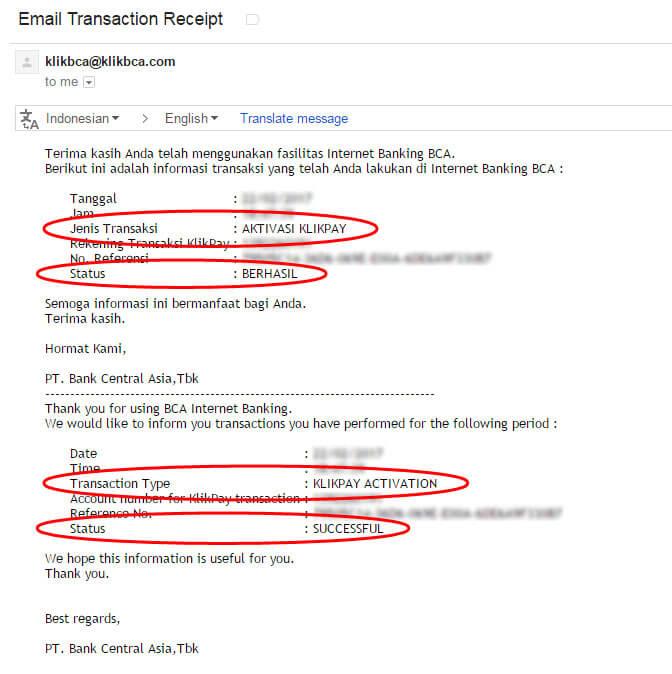 Email pemberitahuan bahwa proses aktivasi BCA KlikPay statusnya berhasil