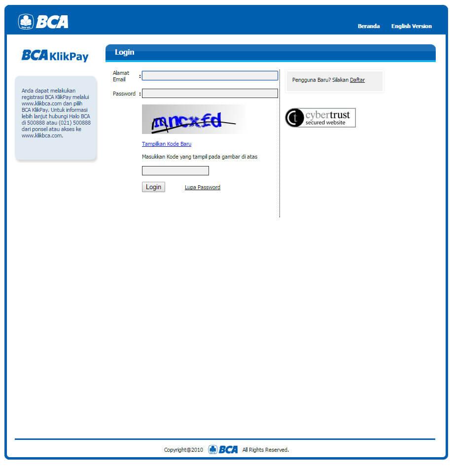 BCA KlikPay - halaman depan