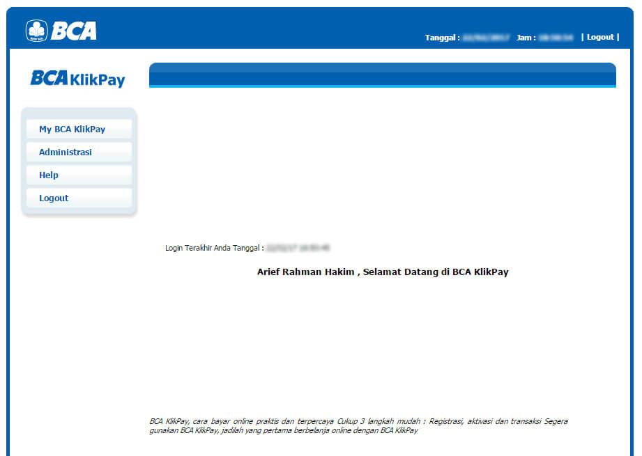 BCA KlikPay - masuk halaman selamat datang
