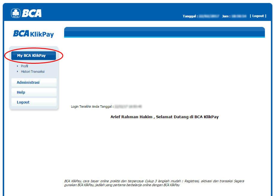 BCA KlikPay - klik menu My BCA KlikPay