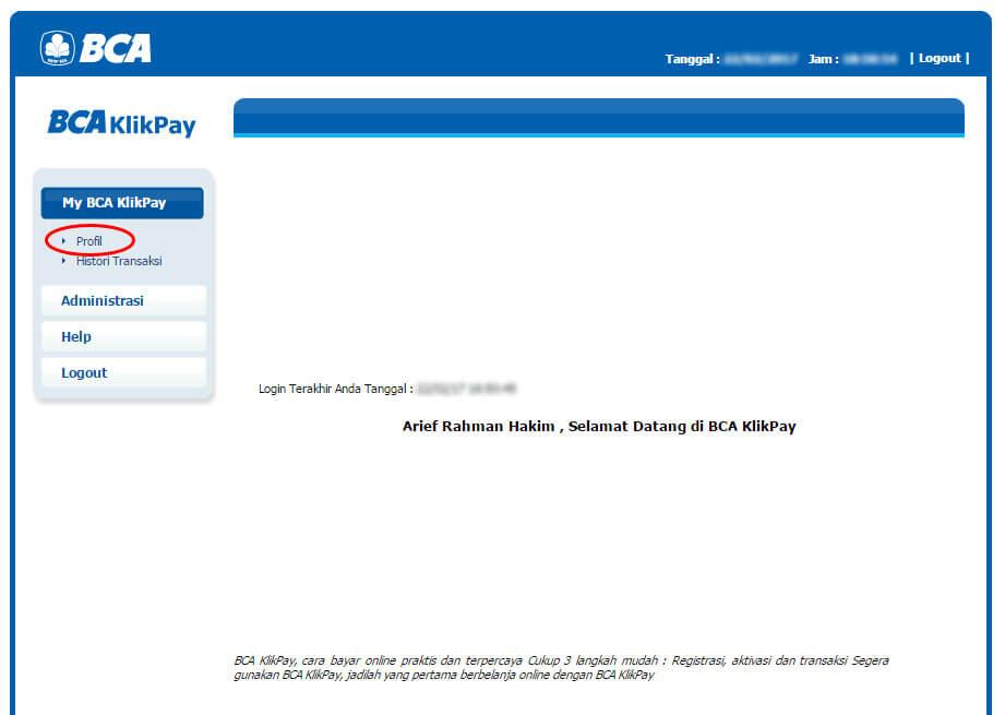 BCA KlikPay - klik menu Profile