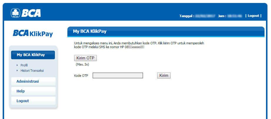BCA KlikPay - menu Profile halaman OTP