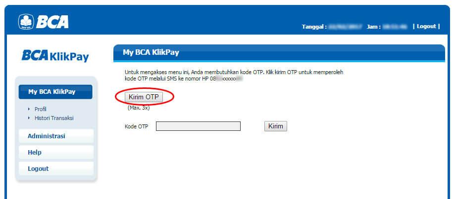 BCA KlikPay - klik Kirim OTP