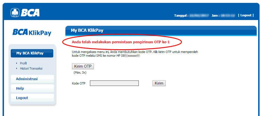 BCA KlikPay - permintaan OTP ke-1