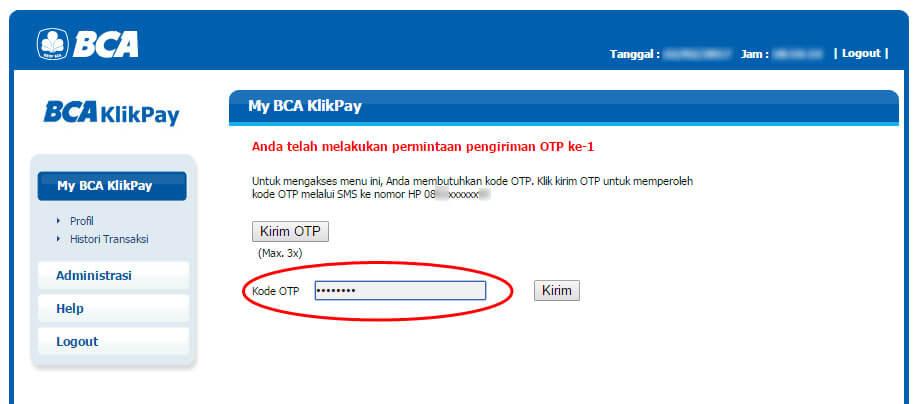 BCA KlikPay - masukkan kode OTP
