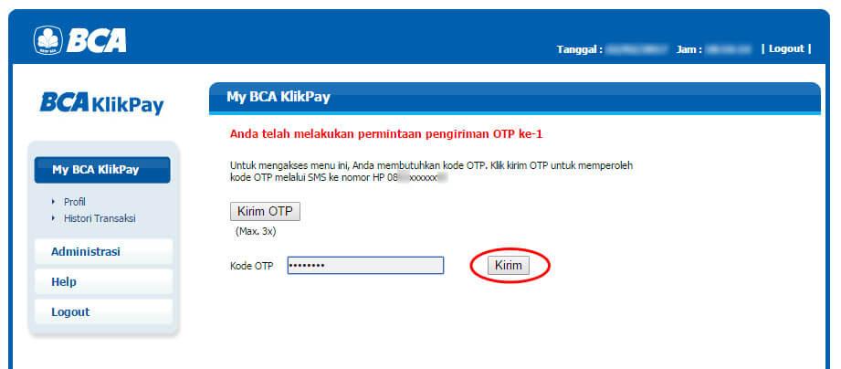 BCA KlikPay - klik tombol Kirim