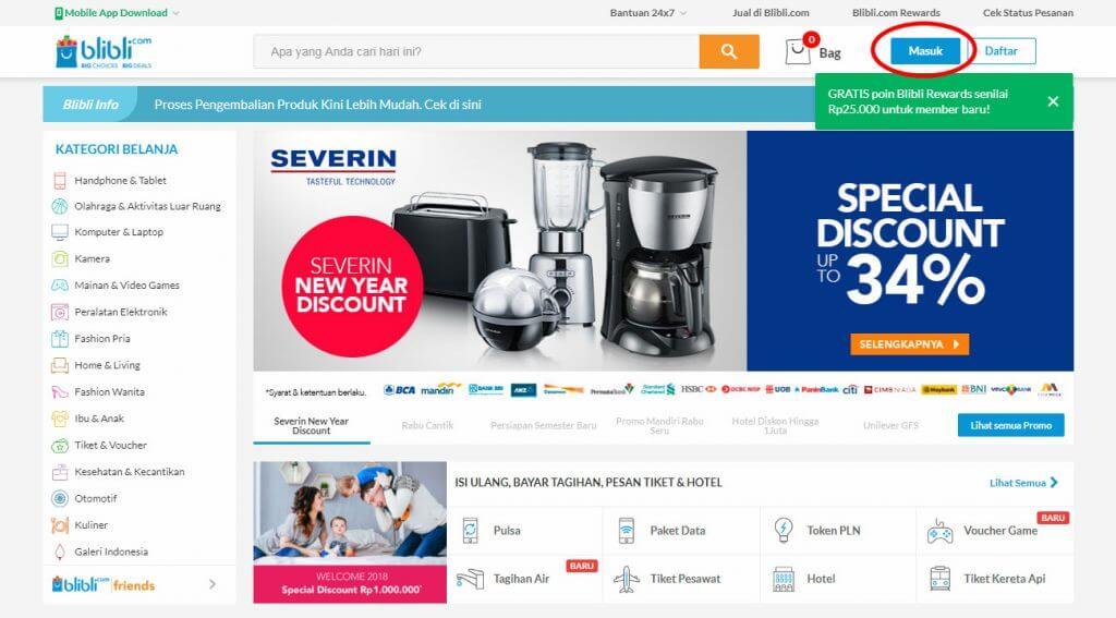 """Belanja Online di Blibli.com, Bayar dengan BCA KlikPay - Halaman website Blibli.com klik tombol """"Masuk""""."""