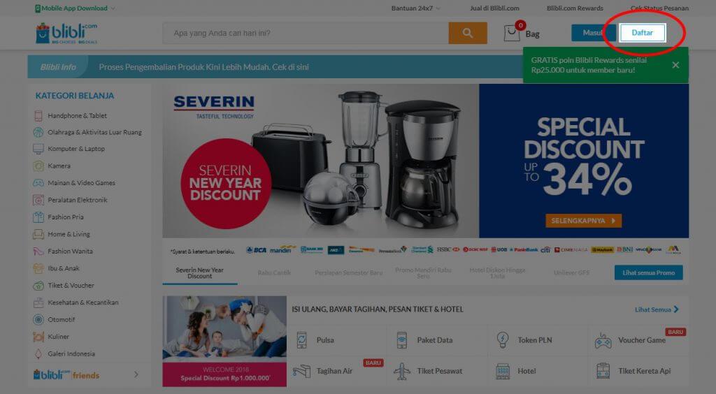 """Mendaftar Blibli.com - Klik tombol """"Daftar"""" di bagian atas."""
