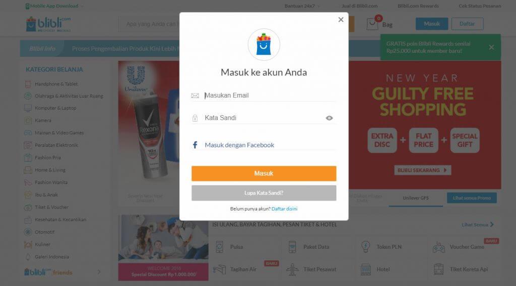 "Belanja Online di Blibli.com, Bayar dengan BCA KlikPay - Muncul kotak pop-up ""Masuk""."