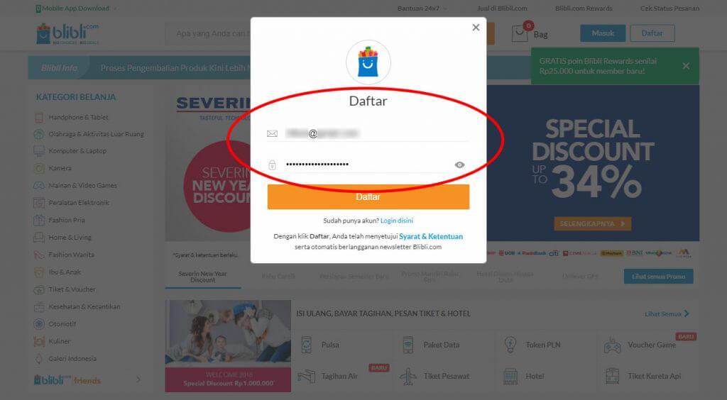 Mendaftar Blibli.com - Masukkan alamat email dan kata kunci (password) untuk akun anda.