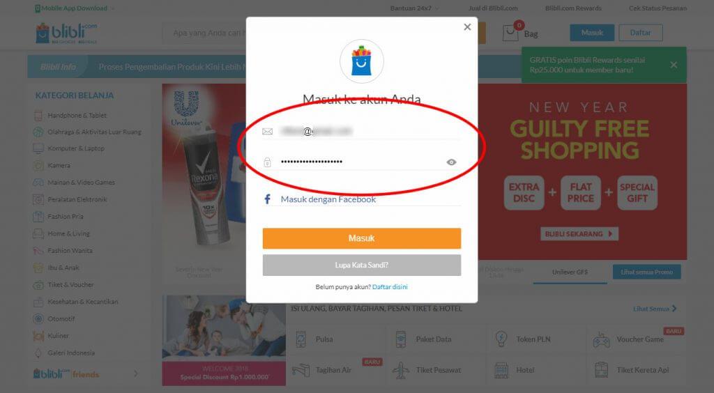 """Belanja Online di Blibli.com, Bayar dengan BCA KlikPay - Masukkan """"Email"""" dan """"Kata Sandi (password)"""" ."""