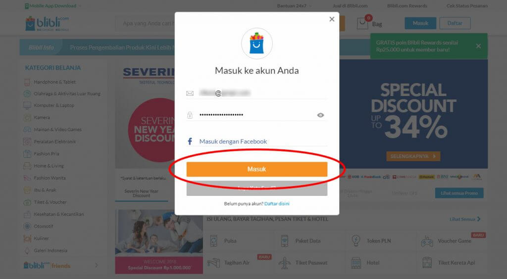 "Belanja Online di Blibli.com, Bayar dengan BCA KlikPay - Klik tombol ""Masuk""."