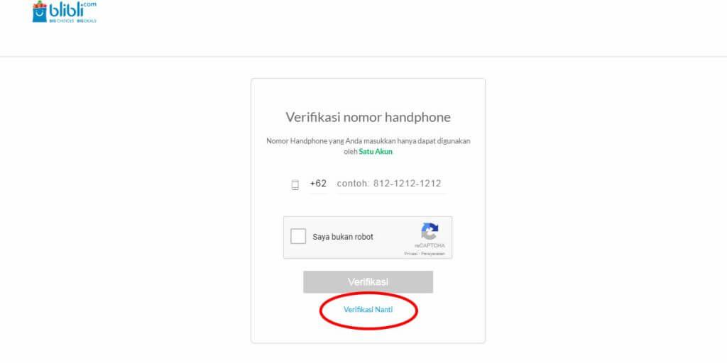 "Belanja Online di Blibli.com, Bayar dengan BCA KlikPay - Klik ""Verifikasi Nanti""."