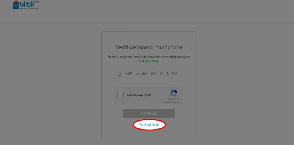 """Mendaftar Blibli.com - Klik link tombol """"Verifikasi Nanti"""" untuk melewatkan proses verifikasi ini."""