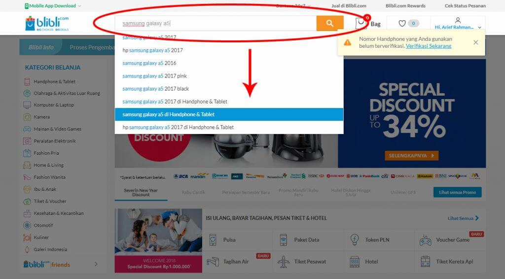 Belanja Online di Blibli.com, Bayar dengan BCA KlikPay - Ketik nama atau jenis barang di kotak pencarian.