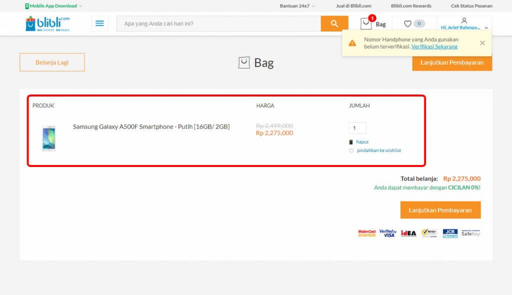"Belanja Online di Blibli.com, Bayar dengan BCA KlikPay - Halaman ""Bag"" (keranjang belanja/shopping cart)."