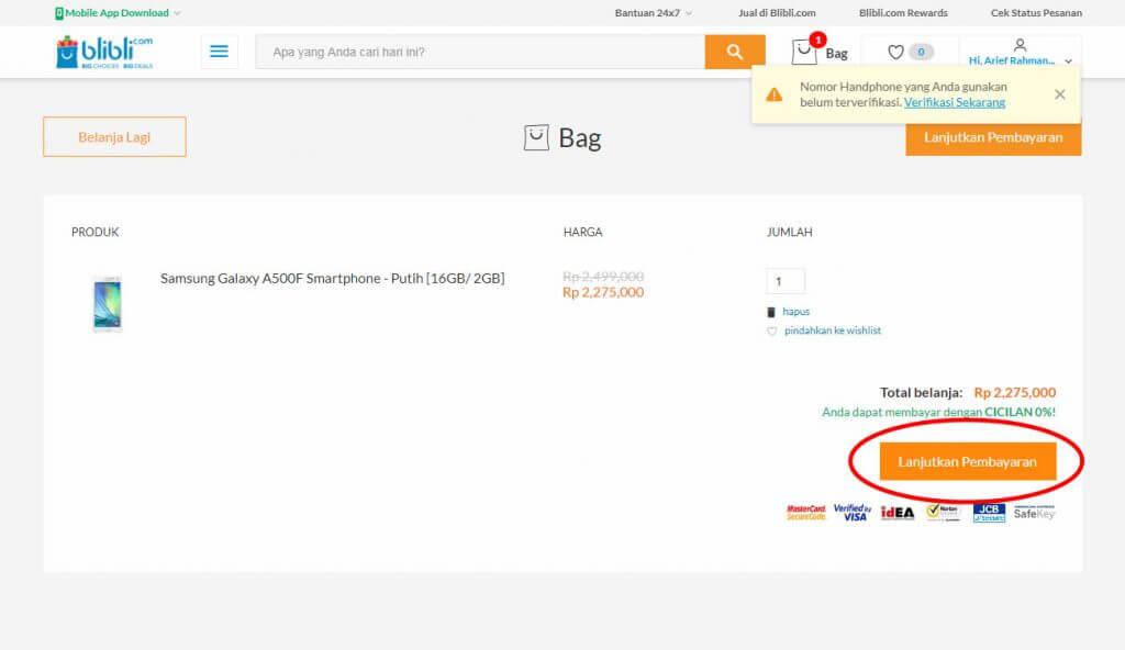 "Belanja Online di Blibli.com, Bayar dengan BCA KlikPay - Klik tombol ""Lanjutkan Pembayaran""."