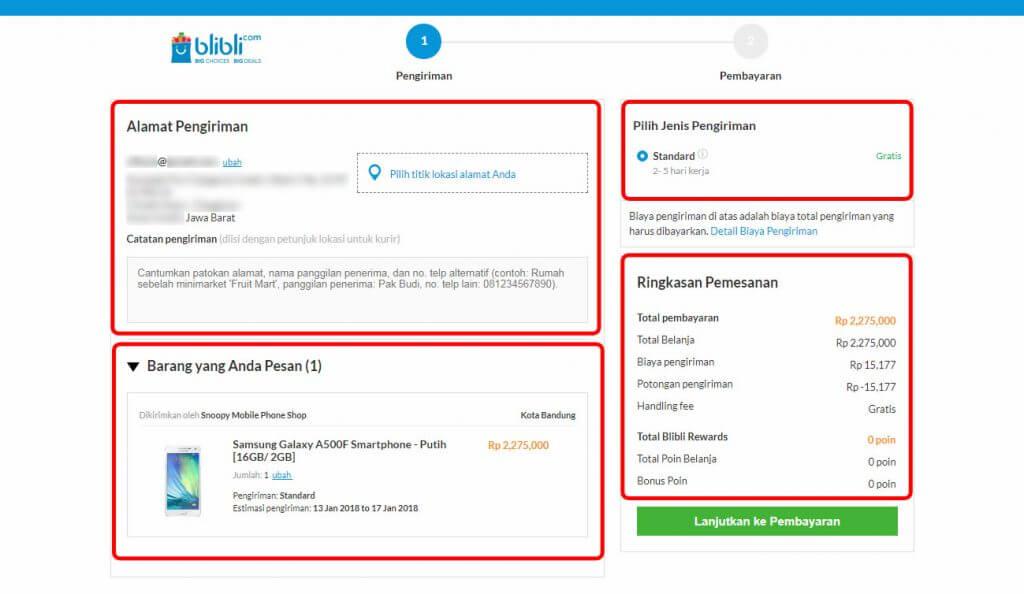 """Belanja Online di Blibli.com, Bayar dengan BCA KlikPay - Halaman """"Pengiriman""""."""
