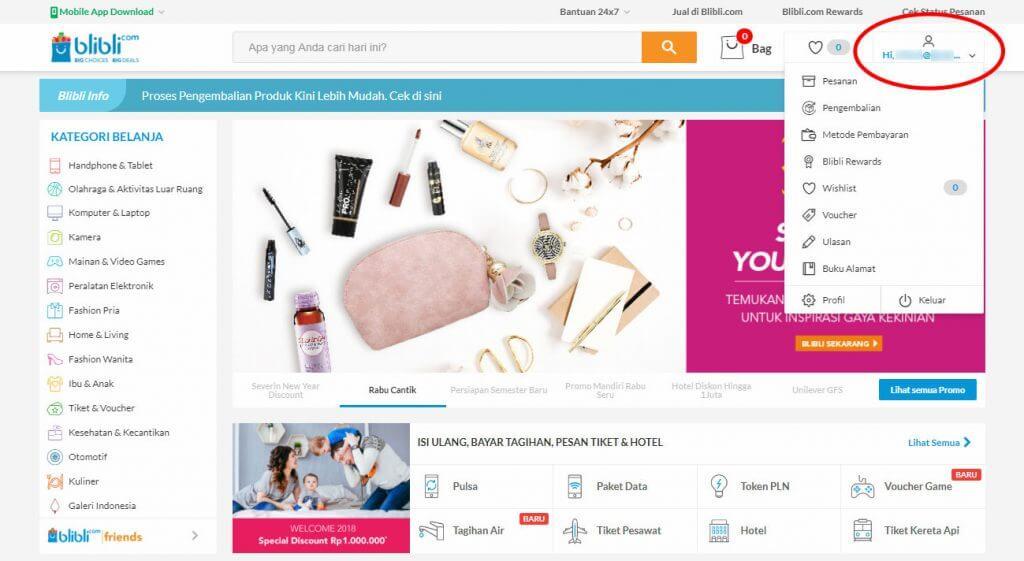 Mendaftar Blibli.com - Di halaman depan Blibli.com, pada menu di sudut kanan atas klik tombol menu profil.