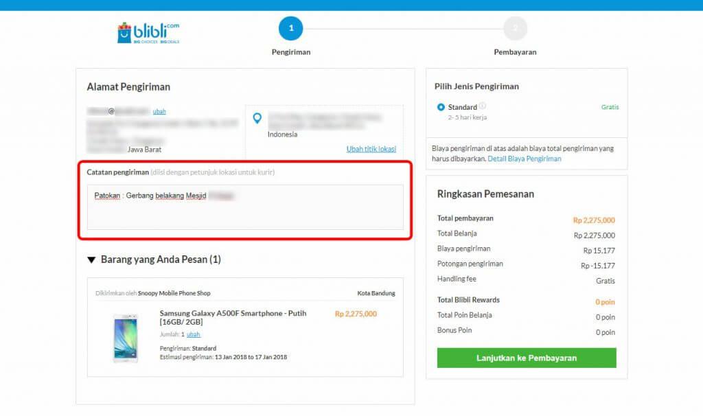 """Belanja Online di Blibli.com, Bayar dengan BCA KlikPay - Masukkan """"Catatan Pengiriman""""."""
