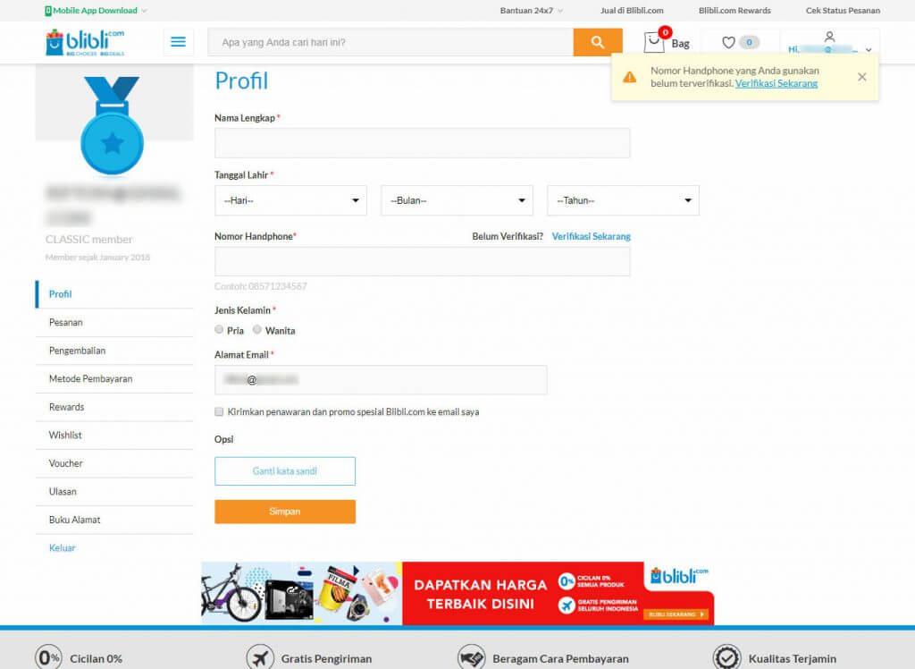 Mendaftar Blibli.com - Akan tampil halaman profil pengguna di Blibli.com ini.