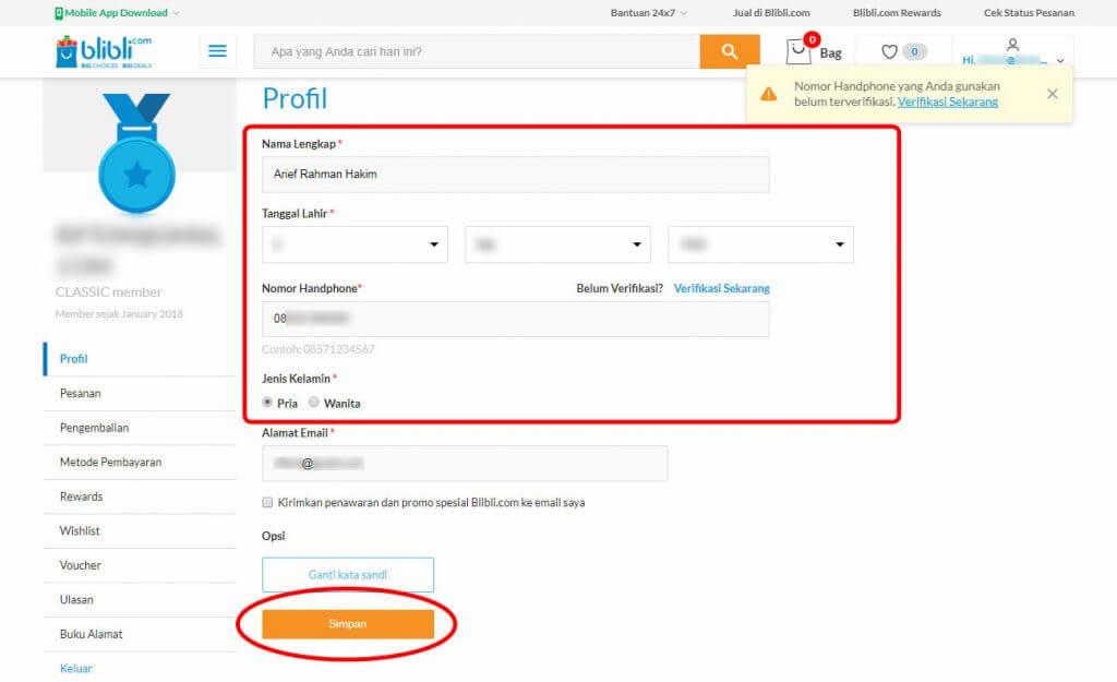 """Mendaftar Blibli.com - Lengkapi data pribadi anda seperti nama, tanggal lahir, nomor handphone dan jenis kelamin. Kemudian klik tombol """"Simpan""""."""